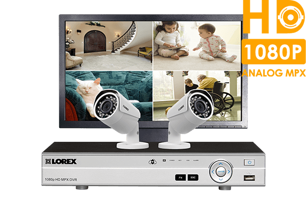 Home security system with 4-channel DVR,  2 HD 1080p cameras and LED monitor