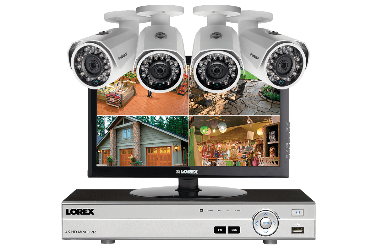 Exterior Surveillance Cameras For Home outdoor surveillance camera installed on warehouse 1080p Hd Complete 4 Camera Home Security System With Monitor