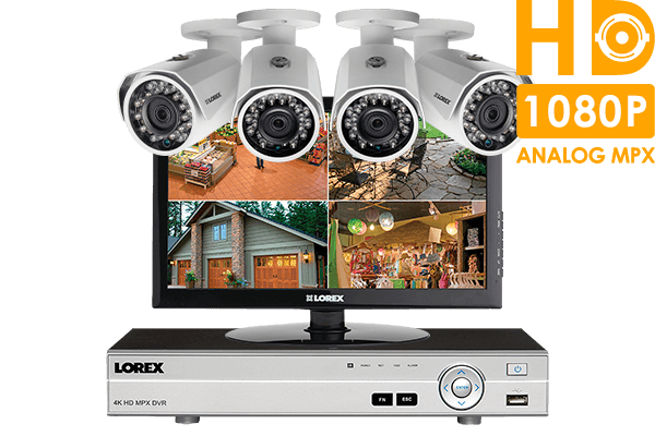 1080p HD complete 4 camera home security system with monitor