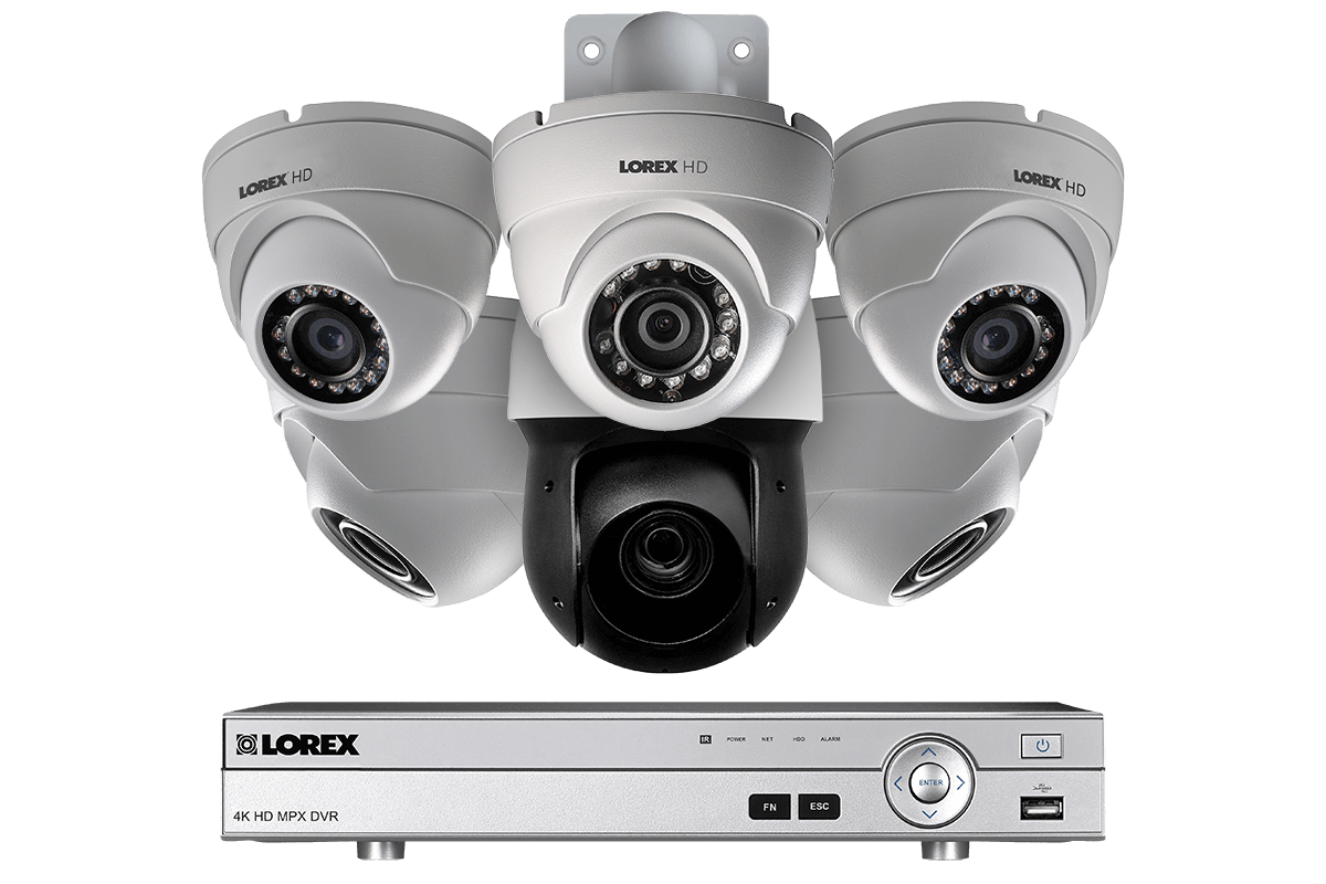 HD CCTV security system with 1080p dome cameras and 720p PTZ camera
