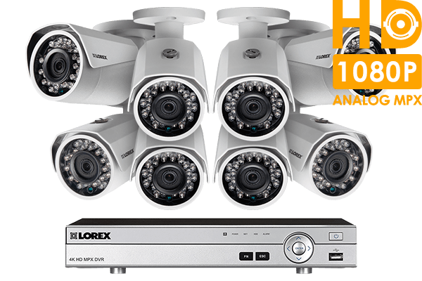 1080p HD home monitoring system with 8 weatherproof security cameras