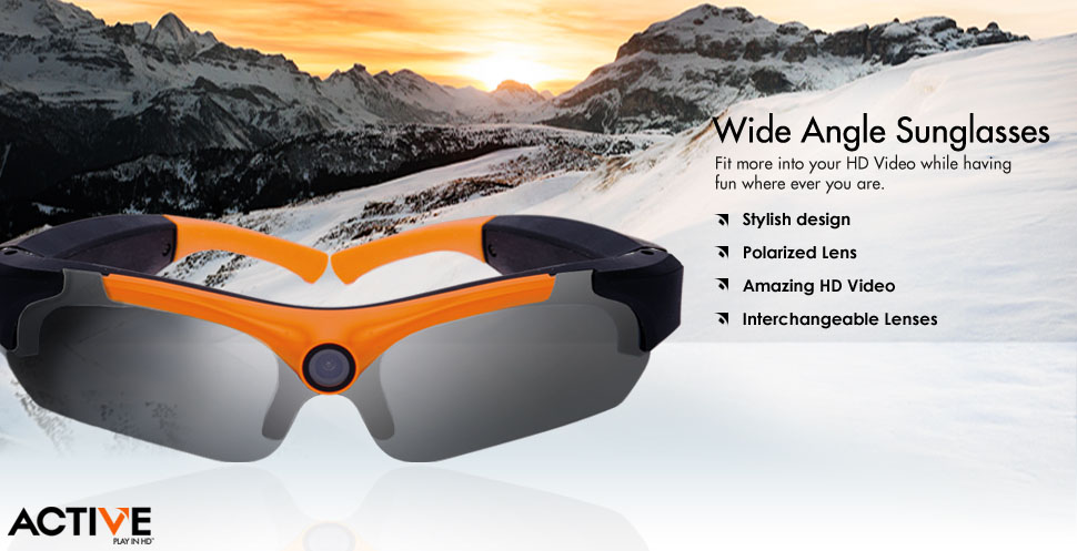 Wide angle video sunglasses