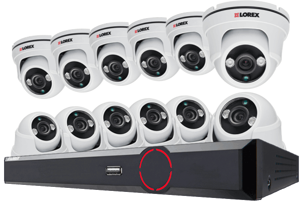 Video security system with 12 dome cameras