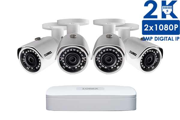 2K IP Security Camera System with 4 Channel NVR and 4 x 4MP