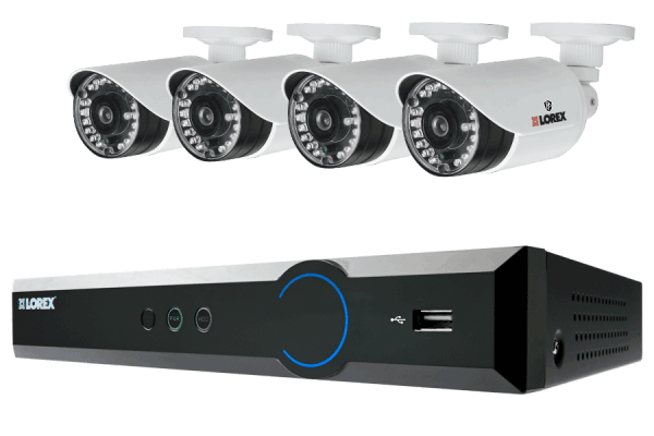 Surveillance system with 4 security cameras and 8 channel DVR