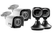 2 Weatherproof HD Security Cameras & 2 Wi-Fi Home Monitoring Cameras