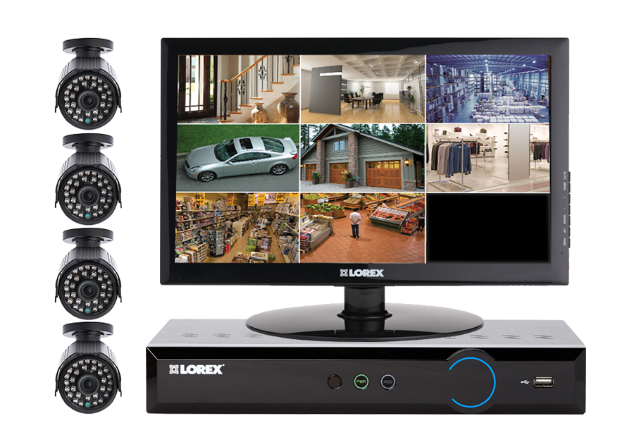 Complete 4 Camera Home Security Solution with Monitor
