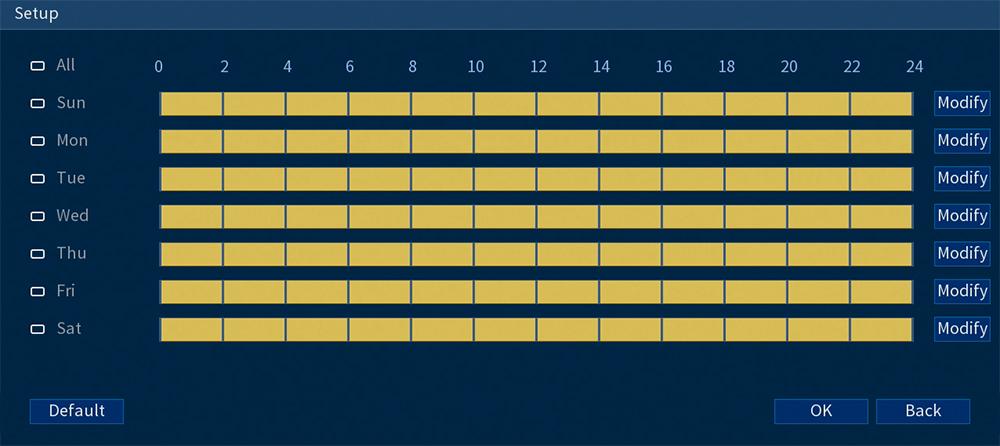 Motion Detection Schedule