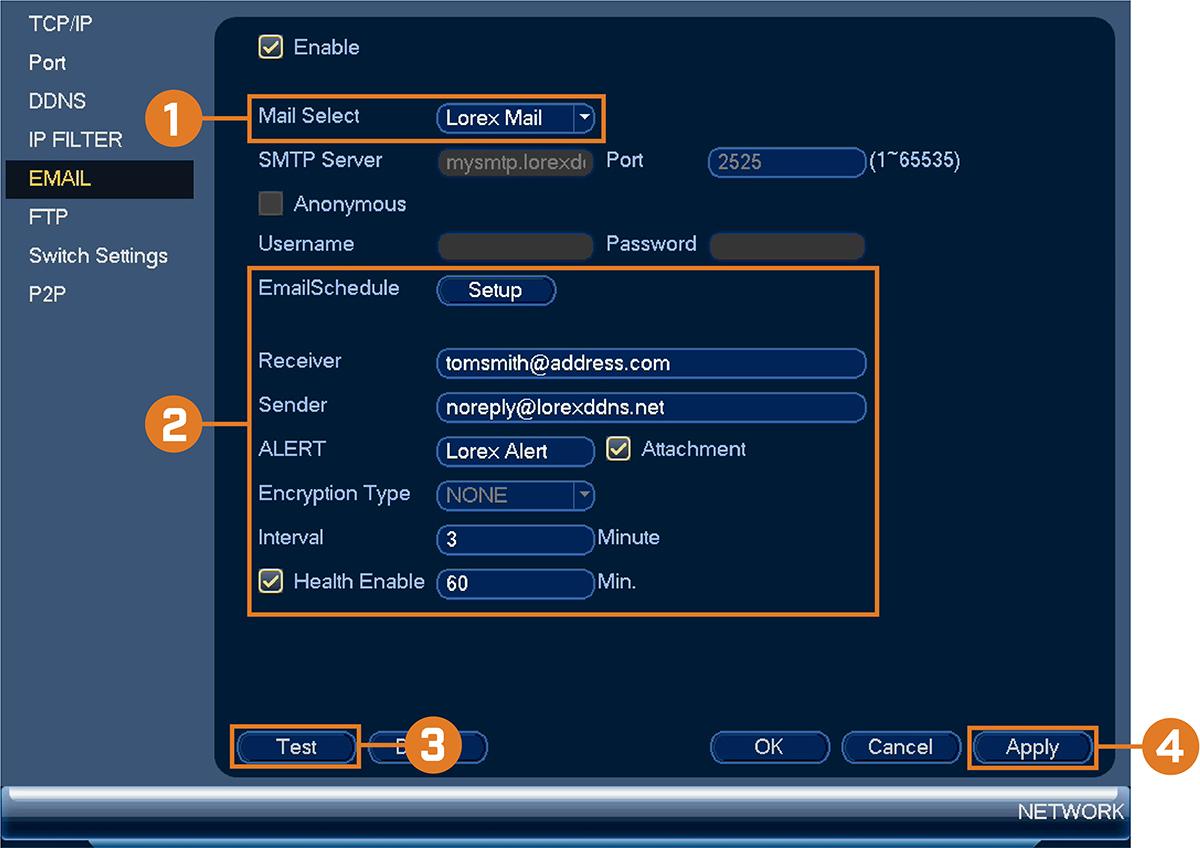 Lorex Email Server