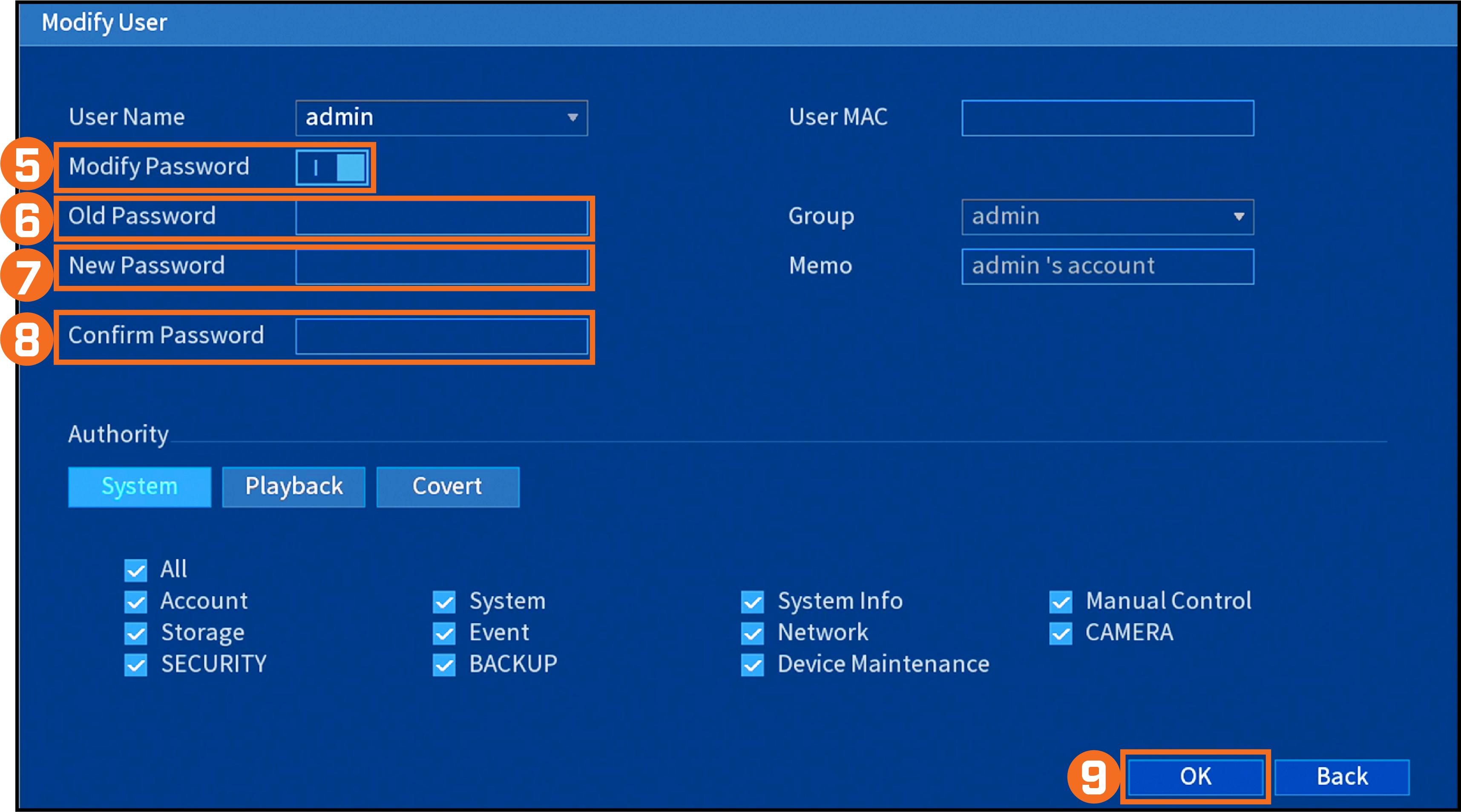Modify User Settings