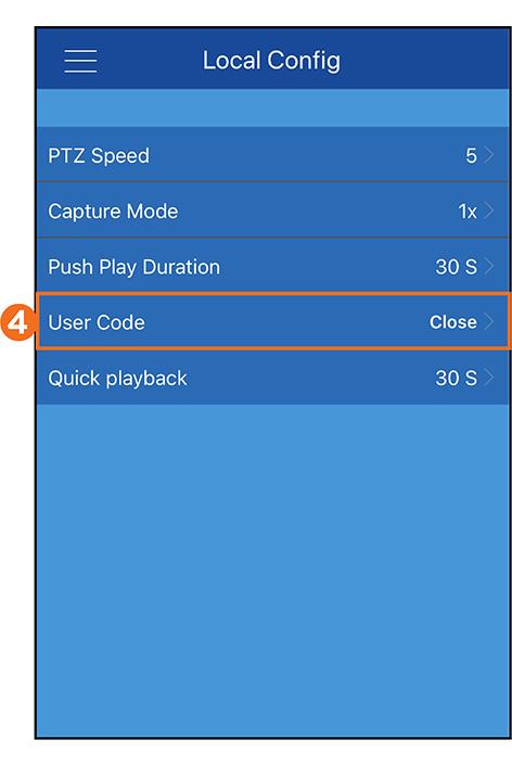 User Code Settings