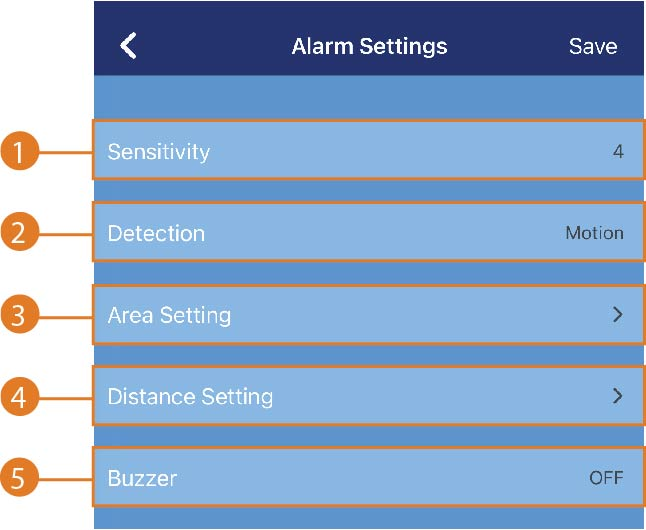 Alarm settings