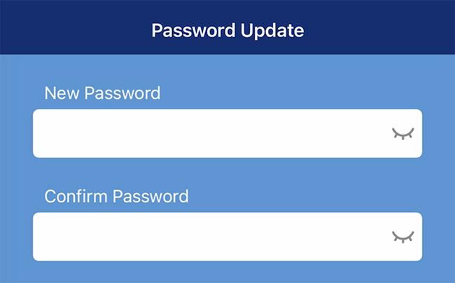 Password update screen