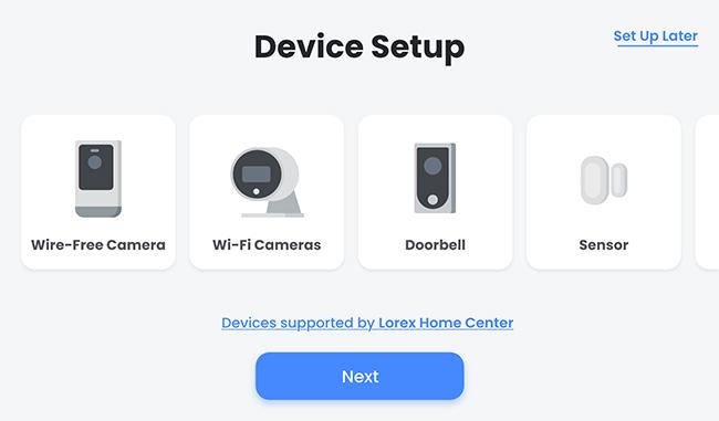 Device Setup screen