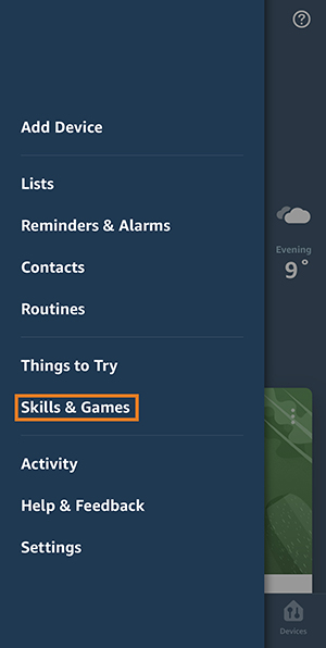 tap menu icon, then skills and games