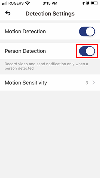 Toggle Person Detection to ON