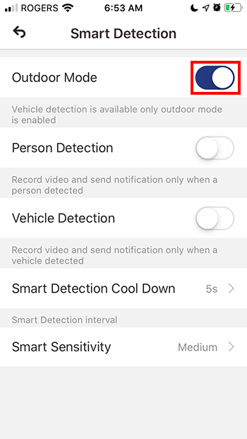 Toggle Outdoor Detection to ON