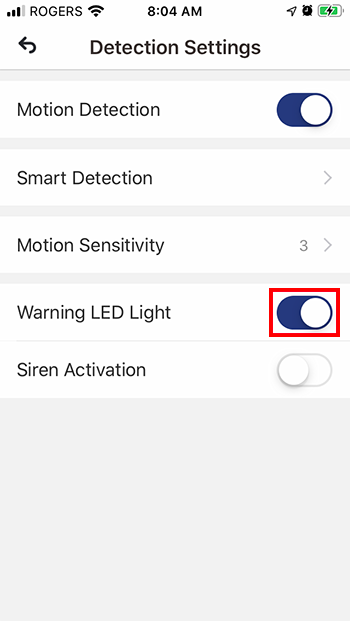 Toggle Warning LED Light to ON