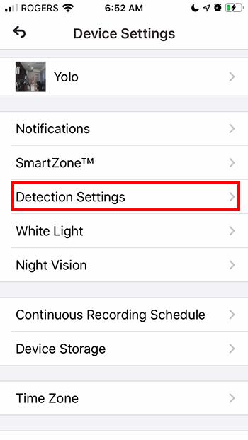 Tap Detection Settings