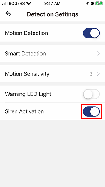 Toggle Siren Activation to ON