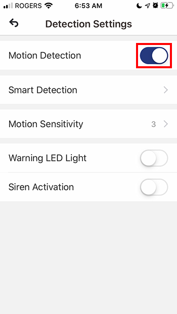 Toggle Motion Detection button to ON