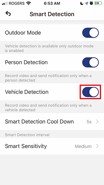 Toggle Vehicle Detection to ON