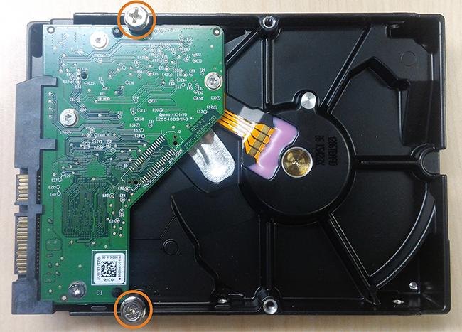 Insert hard drive screws