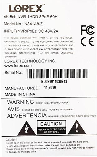 serial or model number